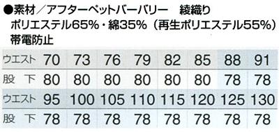 【全7色】ワークパンツ(2タック) サイズ詳細