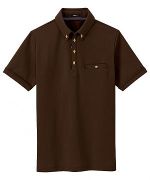 部屋干しボタンダウン半袖ポロシャツ