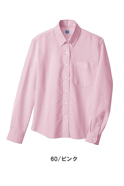 レディース長袖オックスボタンダウンシャツ