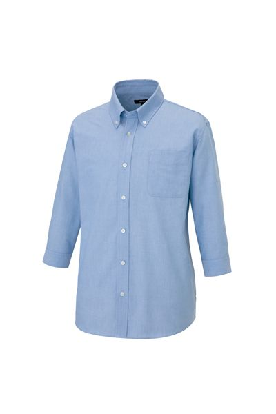 メンズ七分袖オリックスボタンダウンシャツ