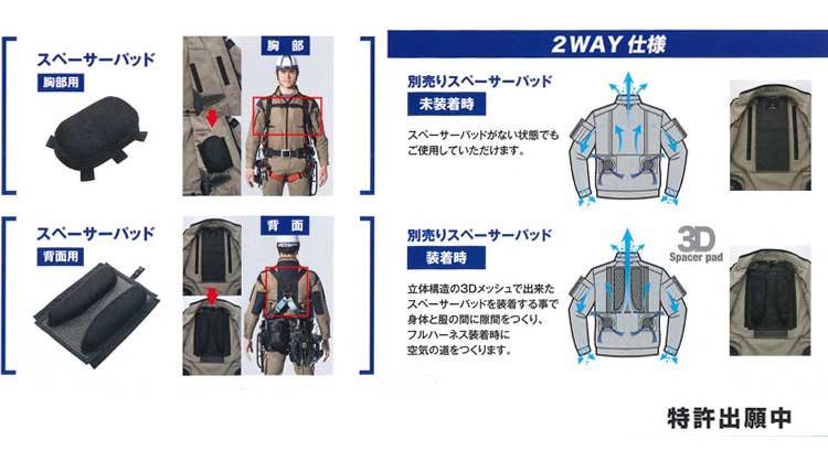 【空調服】フルハーネス型専用スペーサーパッド