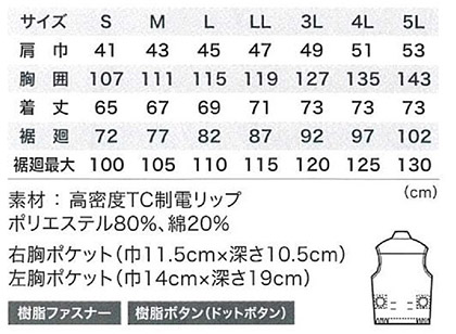 【空調服】制電半袖ブルゾン(単品) サイズ詳細