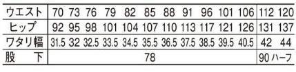 【Jawin】ノータックパンツ(帯電防止) サイズ詳細