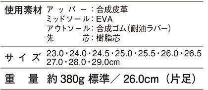 【Z-DRAGONジィードラゴン】軽量セーフティシューズ 安全靴 サイズ詳細