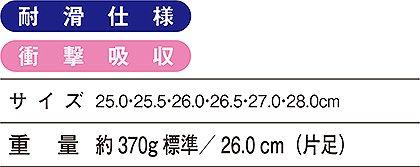 【Z-DRAGONジィードラゴン】セーフティシューズ(耐滑) サイズ詳細