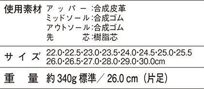 【Z-DRAGONジィードラゴン】セーフティシューズ(紐タイプ・反射パイピング) サイズ詳細