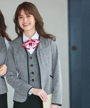 【カーディガンジャケット(ニットツイード・ファスナータイプ・レディース)