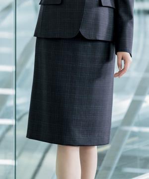チェック柄セミタイトスカート(ストレッチ・静電気防止)(60cm丈/9号)