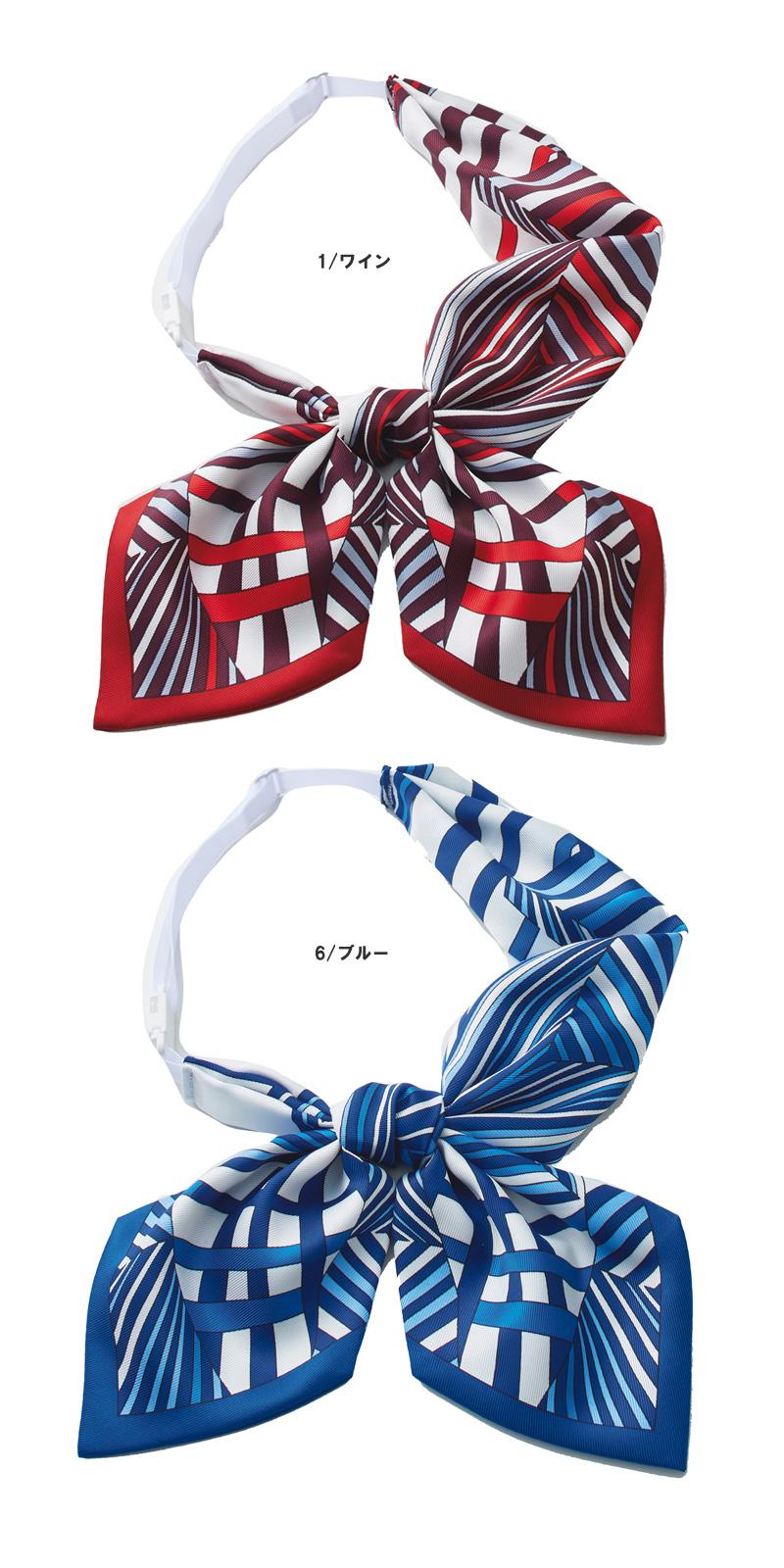 【2色】リボンスカーフ(シャープな幾何学柄)
