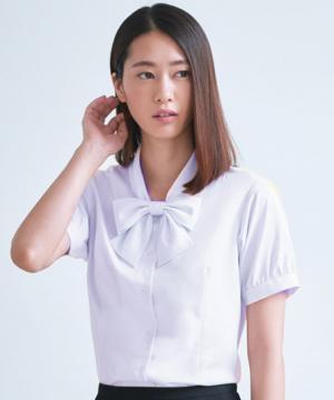 ユニフォームや制服・事務服・作業服・白衣通販の【ユニデポ】【全4色】半袖リボンブラウス(Cool MAX)