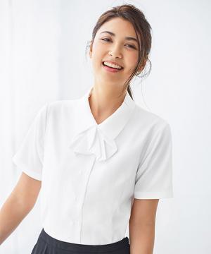 ユニフォームや制服・事務服・作業服・白衣通販の【ユニデポ】【全4色】半袖リボン付きブラウス(Cool MAX)