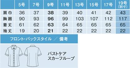 【全2色】半袖シャツブラウス(制菌・防臭) サイズ詳細