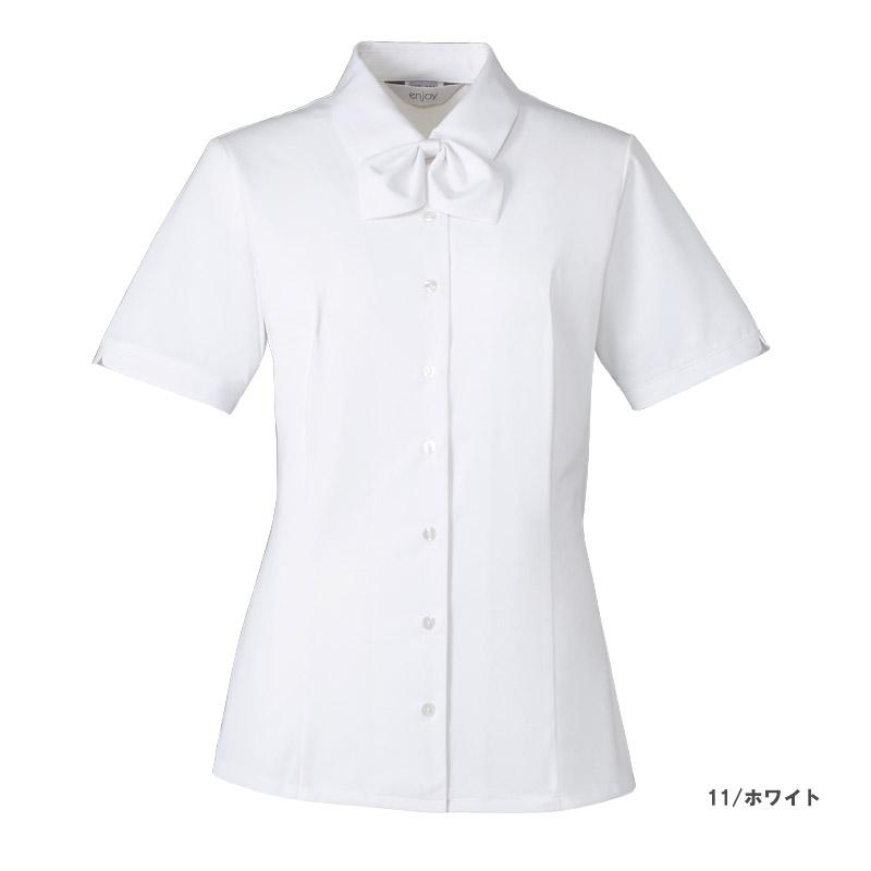 【全3色】リボン付き半袖シャツブラウス(トリコット ニット カルゼ)