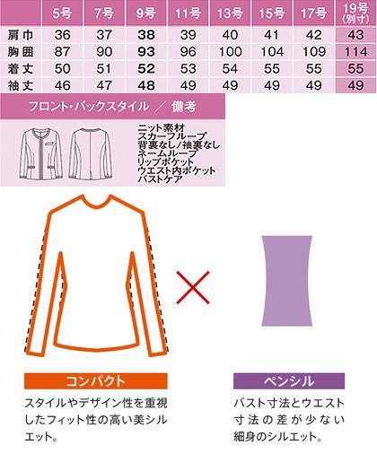 ノーカラージャケット(Coco Knit Tweed/夏用ニットスーツ) サイズ詳細