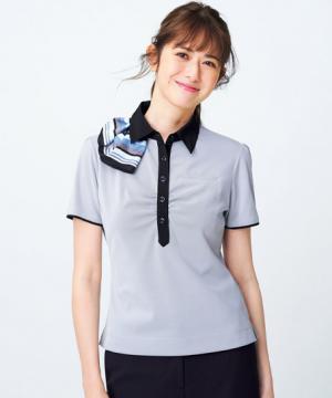 ユニフォームや制服・事務服・作業服・白衣通販の【ユニデポ】【全2色】ポロシャツ(ミニスカーフ付き)