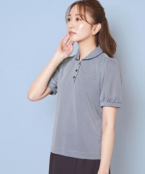 事務服用ユニフォームの通販の【事務服デポ】【2色】ショールカラーポロシャツ(千鳥柄ニット)