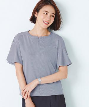 【2色】ノーカラーポロシャツ(千鳥柄ニット)