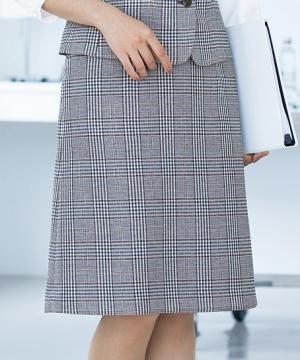 事務服・会社制服用ユニフォームの通販の【事務服デポ】チェック柄Aラインスカート(からみ織り/通気度323cc)