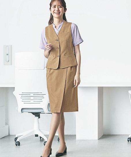 【2色】ラップ風セミタイトスカート(メランジ調素材)