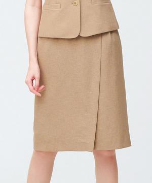 事務服用ユニフォームの通販の【事務服デポ】【2色】ラップ風セミタイトスカート(メランジ調素材)