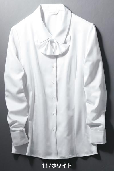 【全5色】長袖ブラウス(スカーフループにもなる共布リボン付)