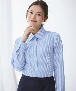 【2色】長袖シャツブラウス(バストケア・スカーフループ付き)