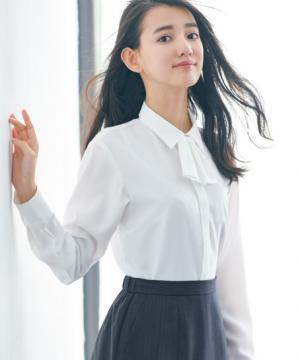 【全2色】長袖シャツブラウス(ハイストレッチ素材・スカーフループ付・リボン付)