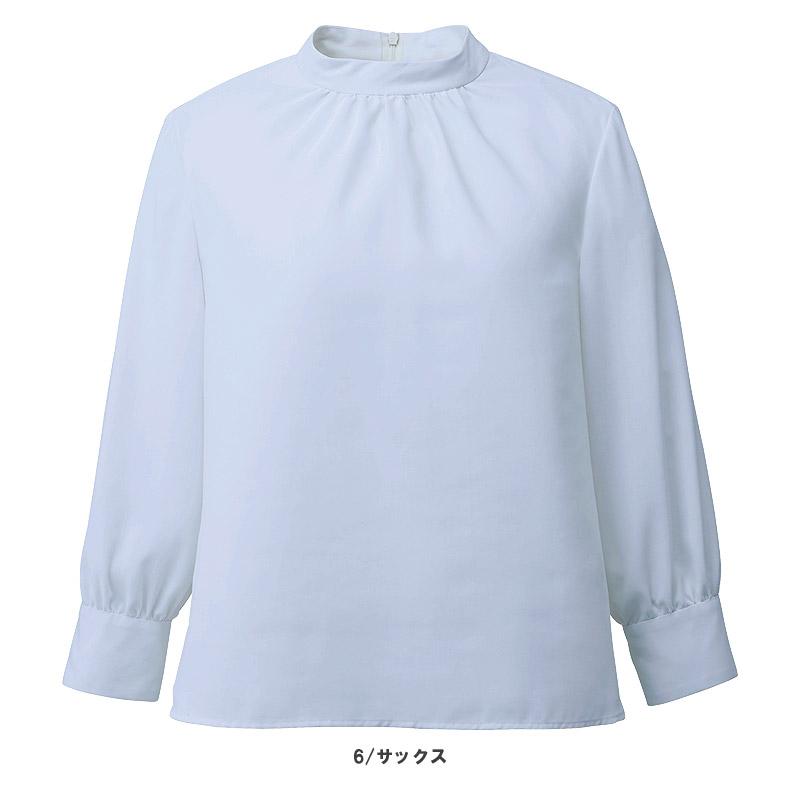 【3色】スタンドギャザーブラウス(八分袖)