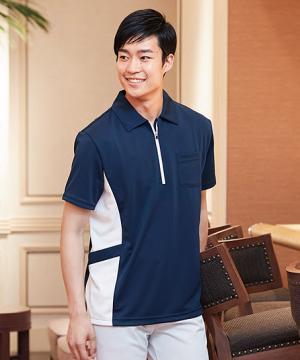 【全4色】半袖ジップシャツ(男女兼用/吸汗速乾/透け防止)