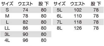 【BURTLEバートル】カーゴパンツ サイズ詳細