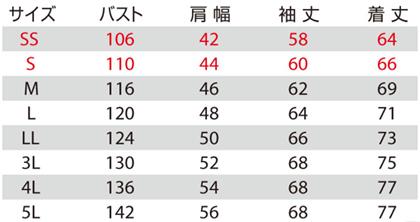 【BURTLEバートル】軽防寒ジャケット サイズ詳細