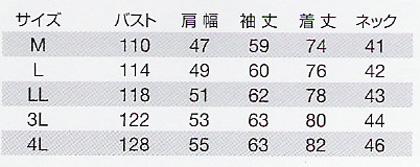 【BURTLEバートル】長袖シャツ(防縮・防寒対応) サイズ詳細