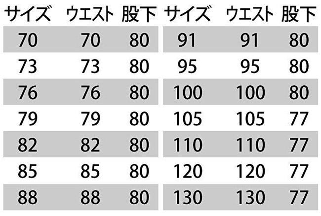 【BURTLEバートル】カーゴパンツ(帯電防止) サイズ詳細