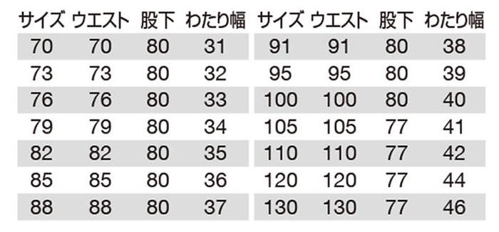 【BURTLEバートル】パンツ(帯電防止) サイズ詳細