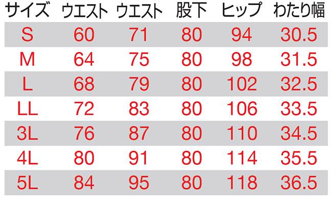 【BURTLEバートル】レディースパンツ(帯電防止) サイズ詳細