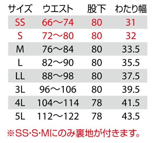 【BURTLEバートル】シャーリングパンツ(男女兼用/帯電防止) サイズ詳細