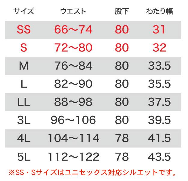 【BURTLEバートル】ユニセックスパンツ(帯電防止・ストレッチ) サイズ詳細