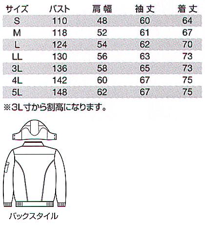 【BURTLEバートル】防寒ブルゾン(洗濯機丸洗いOK) サイズ詳細