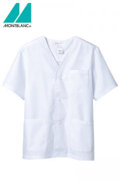 半袖メンズ調理衣(襟なし・抗菌O157対応・薄手生地/~5Lまであり)