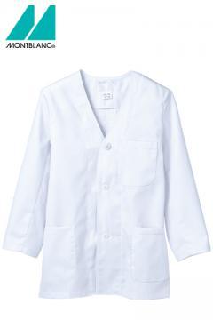 メンズ長袖調理衣(襟なし・抗菌O157対応・制電/~5Lまであり)