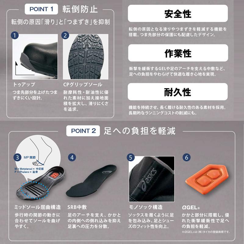 【ASICS】ウィンジョブCP303 厨房シューズ(衝撃吸収・先芯あり)