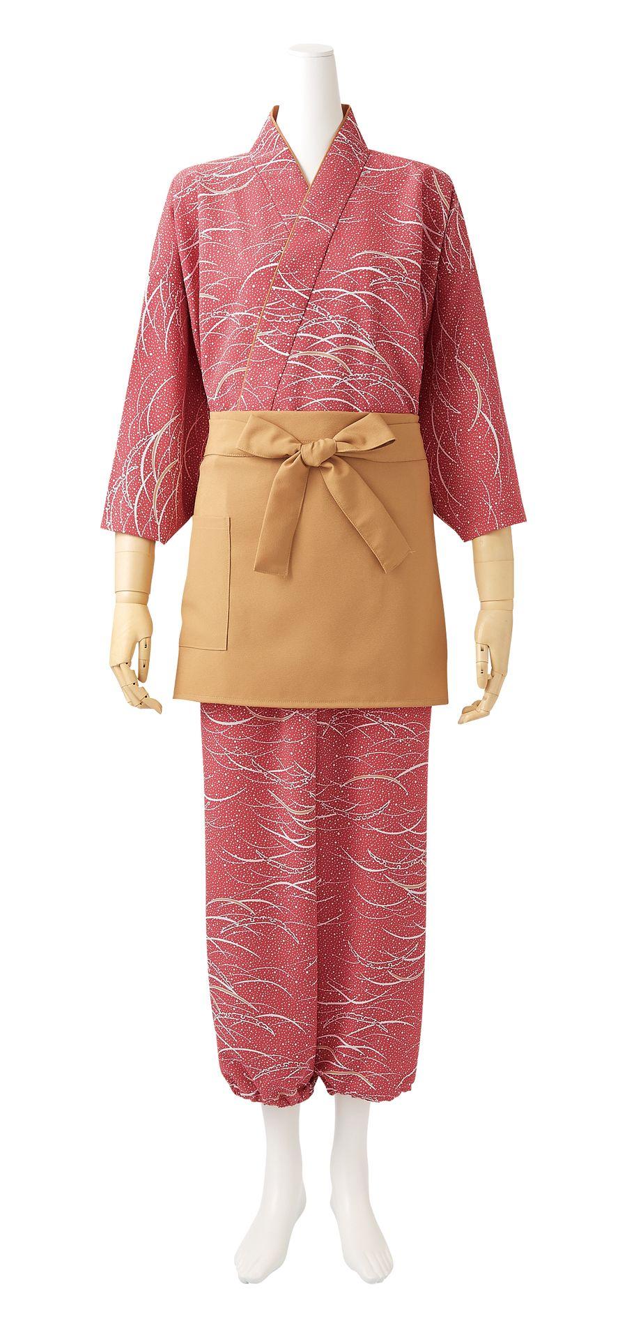 雪見笹柄紋はっぴ茶羽織(レディス・7分袖)