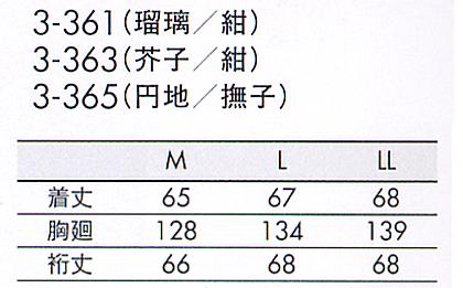 はっぴ(レディス7分袖) サイズ詳細