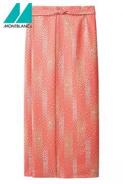 桜吹雪柄紋和風ラップスカート(腰ひも付き)