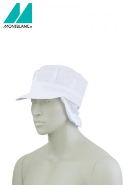 天メッシュ八角帽子たれ付 白