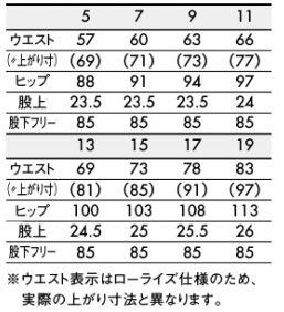 レディスパンツ(スッキリシルエット・ノータック・裏地付) サイズ詳細