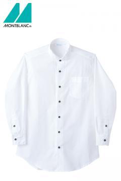エステサロンやリラクゼーションサロン用ユニフォームの通販の【エステデポ】ウィングカラーシャツ(男女兼用・長袖・黒ボタン)