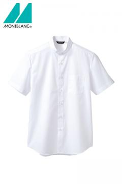 立ち襟半袖シャツ(男女兼用/スッキリシルエット)