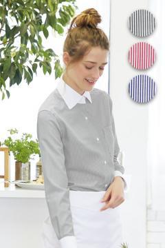 【全3色】ストライプシャツ(レディス・長袖)