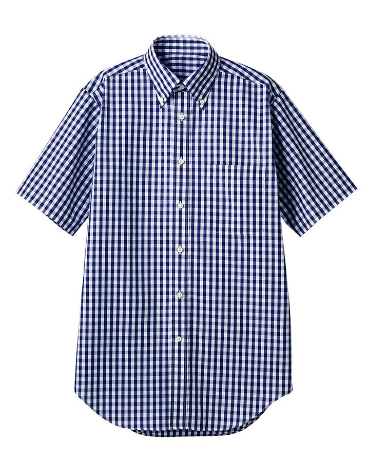 半袖ギンガムチェックシャツ(男女兼用・形態安定)